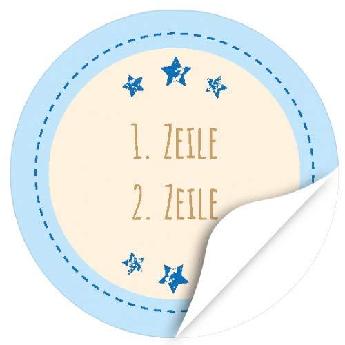 24 runde Design Etiketten MIT IHREM TEXT personalisiert - Design Blaue Sterne mit 2 Zeilen - Individuelle Aufkleber für Hochzeit, Save the Date, Namen, Geschenke, Danke sagen, Taufe, Einladung