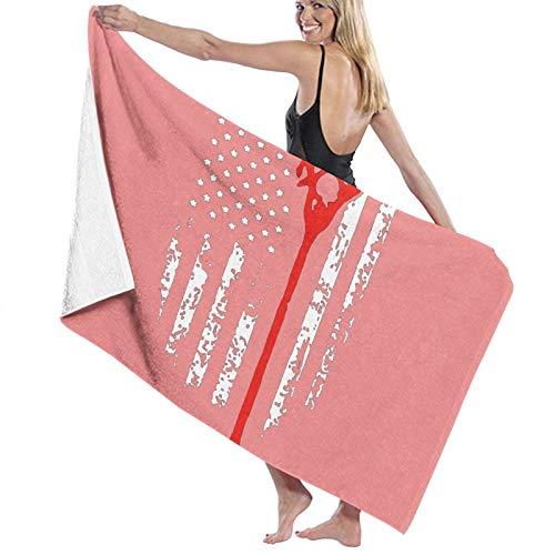 Hangren Lacrosse - Toalla de baño con bandera americana de secado rápido, suave, toalla de ducha de playa, 130 x 80 cm