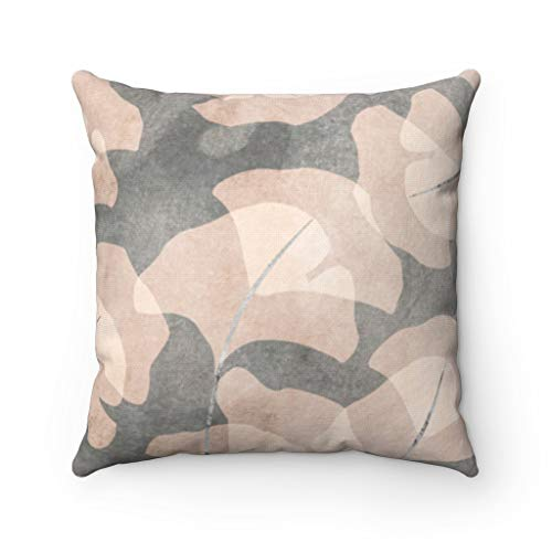 Promini Abstract Art Pillow Cover, Brown Beige Ginko, Leaves Floral Pillowcase, Couch Accent Throw Pillow Covers Case Cushion with Hidden Zipper Closure for Sofa Home Decor 22 x 22 Inches