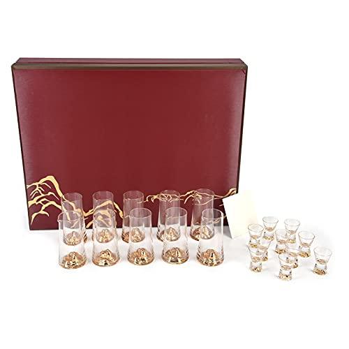 CjnJX-Vases Juego de dispensador de Copa de Vino de Cristal, Regalo de Copa de Vino, Innovador Kit de Copa de Vino Hecho a Mano, con decoración de lámina Dorada, para Hotel Restaurante en casa
