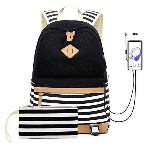 misognare Canvas College Student Bag Laptop USB Backpack High School Rucksack for Men Women (Black)