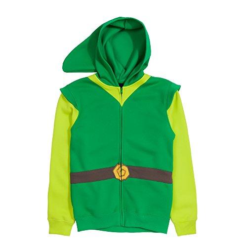 Link Hood Men's Hoodie,Green/Gray,Medium