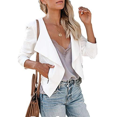 Damen Blazer Elegant Cardigan Langarm Leichte Und Dünne Geschäft Büro Jacke Revers Reißverschlusstaschen Slim Fit Kurz Mantel,S