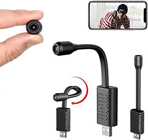 Smallest WiFi Spy Hidden Camera, Mini USB Hidden Camera, Surveillance Camera with WiFi USB Mini Camera IP Full HD 1080P SD Card