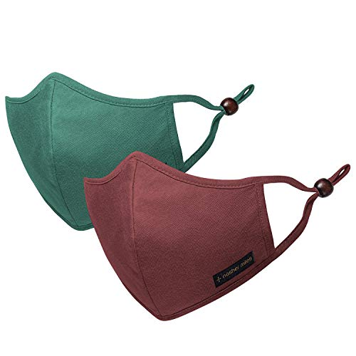 Nasher Miles Cloth Face Mask (Pack of 2) Using Swiss Textile Technology - HeiQ Viroblock, Reusable, Washable & Breathable & Fashionable (Red & Green) (Large)