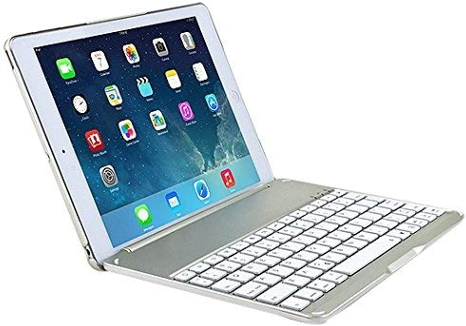 JiiJian iPad Pro 9.7 Keyboard Cover, 7 color LED Backlit Wireless blueetooth Keyboard Auto Sleep Wake Function Predective Smart Folio Case Cover for 9.7 inch iPad Pro 9.7 -Silver