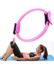 GETKO WITH DEVICE Pilates Ring - Body Toning Pilates Magic Circle and Resistance Exercise Fitness Magic Circle Ring for Toning Thighs, Yoga and Resistance Training (Random Color)