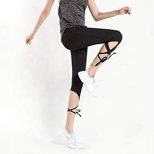 WJSW Yogahosen Enge Leggings Schnelltrocknende Leggings Trainingshose Bauchkontrolle Fitness Lauftraining Bauch Hüften Feuchtigkeitstransport Damen Jogginghose, Schwarz, L