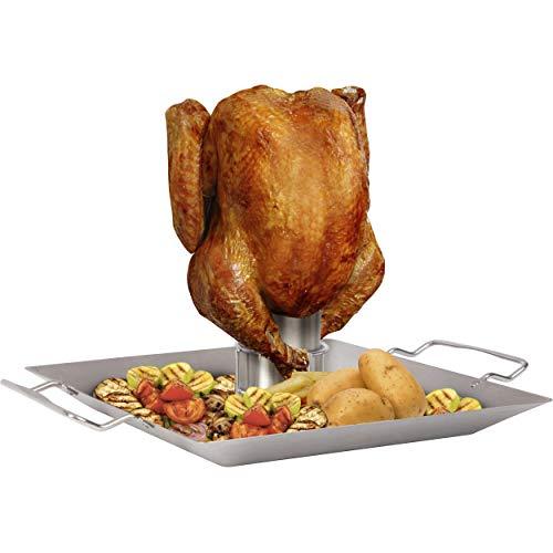 ONVAYA® Hähnchengriller aus Edelstahl mit Aromabehälter | Hähnchenbräter für Bierhähnchen | Geflügelhalter für Backofen und Grill | Hähnchenhalter