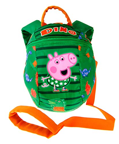 Peppa Pig George Backpack Reins Bag Toddler Boys Small Rucksack with Detatchable Safety Harness for Parental Control