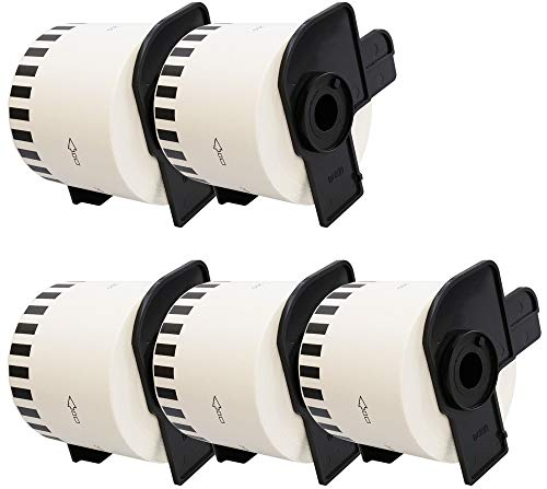 5 x DK22205 62mm x 30.48m Etiquetas continuas compatible con Brother P-Touch QL-500 QL-500A QL-550 QL-560 QL-570 QL-700 QL-710W QL-720NW QL-800 QL-810W QL-820NWB QL-1050 QL-1060N QL-1100 QL-1110NWB