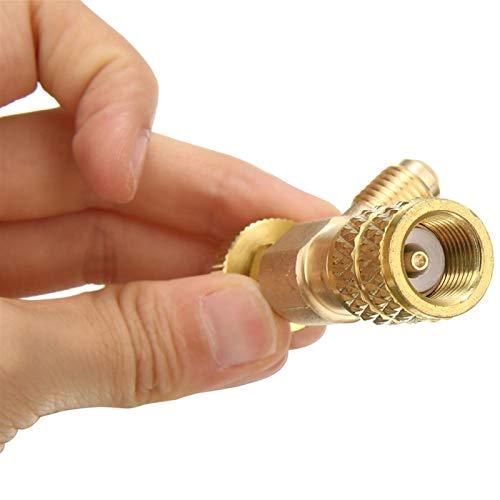 Herramienta de reparacion Mayitr R410A Aire acondicionado Adaptador de válvula de refrigerante 1/4 'Macho SAE a 5/16' Femenino de carga de SAE Válvulas de control de flujo de manguera Partes de aire a