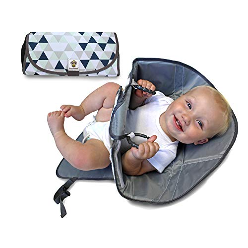 SnoofyBee Portable Clean Hands Changing Pad. 3-in-1 Diaper Clutch, Changing Station, and Diaper-Time Playmat with Redirection Barrier for Use with Infants, Babies and Toddlers (Blue White Grey)