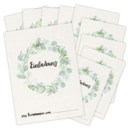 Einladungskarten zur Kommunion   10 Karten zum Ausfüllen und Beschriften für Mädchen und Jungen   DIN A6 Einladung zur Erstkommunion Eukalyptus