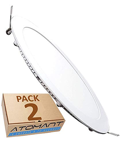 Pack 2x Panel Downlight LED redondo plano, 18W. Color Blanco Neutro (4500K). 1600 Lumenes. Driver incluido.