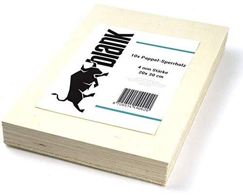 blank - Sperrholz Platten Pappelsperrholz für Laubsäge und Bastelarbeit 4mm 20 x 30 cm 10 Stück Vorteil Set, Modellbau, kreativ Hobby, Bastelholz - Spaß für Kinder und Erwachsene