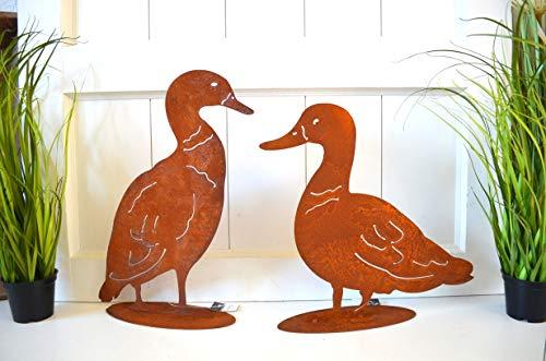Deko Ente Entenpaar 2er Set Metall Rost Edelrost Gartendeko Tiere Vogel Pflanz Türdeko ca. 31cm und 34cm Garten Balkon Terrasse Geschenk Frühjahr Sommer