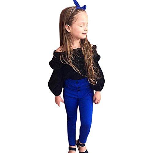 Amlaiworld Mädchen Mode Trägerlos Langarmshirt + blau Hose Kleinkind Prinzessin pullis Kleidung Set,0-5 Jahren (Schwarz, 5 Jahren)
