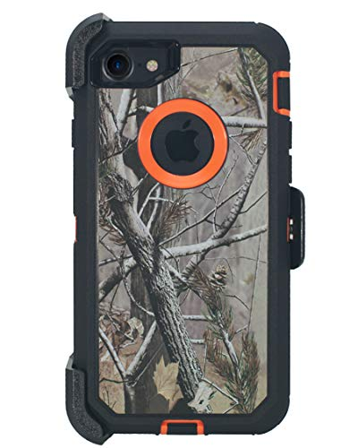 Hand-e Muscle Series Holster Case for Apple iPhone 7/8(NOT Plus) // Triple Layer Protection (Defender) with Screen Protector & Carrying Belt Clip & Kickstand // Drop-Shock-Proof – Camouflage/Orange