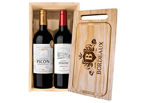 Cassetta 2 bottiglie: Bordeaux Supérieur La Réserve Château Picon e Bordeaux Château Pericou Maison Le Star 0,75 L, Cassetta di legno