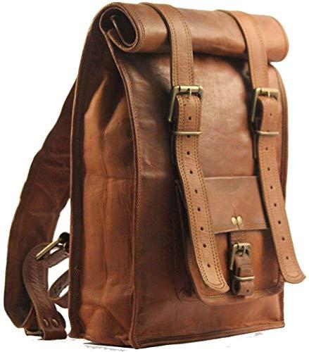 LLB Leather Arts 22' Men's Leather Vintage Roll On Laptop Backpack Rucksack Free Gift...