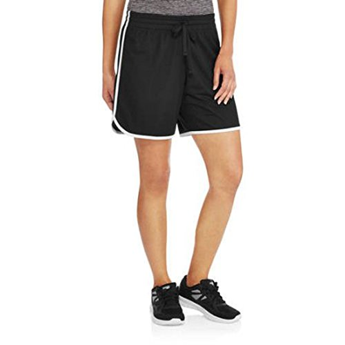 Athletic Works Womens Active Long Mesh Shorts (Medium, Black/White)
