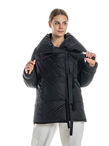 PALETO Nowoczesna damska kurtka zimowa zawijana kurtka pikowana z paskiem do wiązania, z długim rękawem, ciepły płaszcz zimowy, oversize, model 2020 czarny