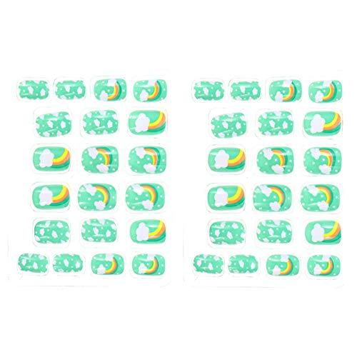 PIXNOR 2 Set 40Pcs Niños Presione en Las Uñas Diy Dibujos Animados Nube Arco Iris Patrón Artificial Uña Verde Pre Pegamento Parche de Uñas Autoadhesivo para Niños Niños