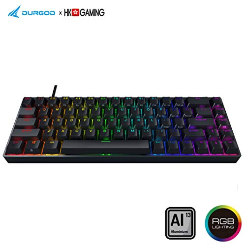Durgod Hades 68 Mechanische Gaming-Tastatur - 65% Layout ANSI US - USB Typ C - Aluminiumgehäuse - Double Shot PBT (Kailh Box Red, Schwarz)