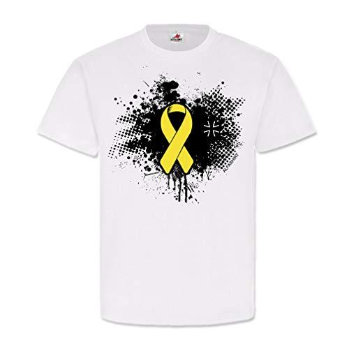 Bundeswehr Solidarität BW Loyal gelbe Schleife Auslands-Einsatz-Veteran Heimat Deutschalnd Respekt T-Shirt #23845, Größe:XXL, Farbe:Weiß