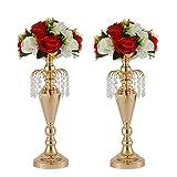 LANLONG Lot de 2 vases en métal pour Centre de Table de Mariage, décoration Florale Artificielle, bougeoir pour Mariage, fête, dîner, événement, décoration intérieure, 2, 2XM