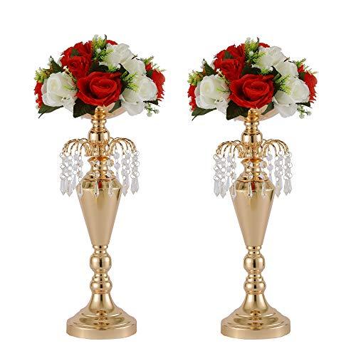 LANLONG - Juego de 2 jarrones de Metal para decoración de