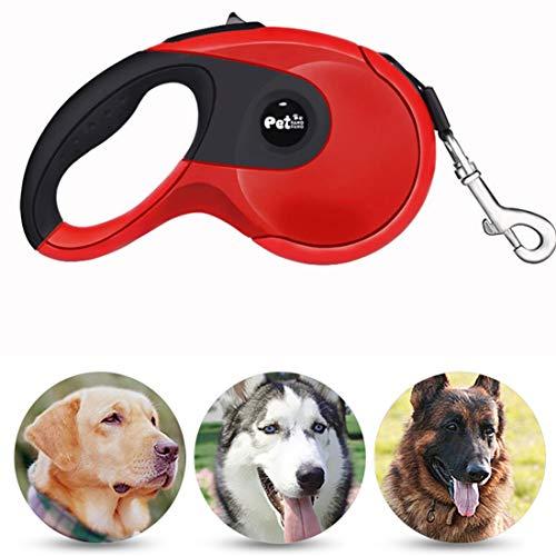 Yzcy Nuevos Perros de compañía Cuerda telescópica automática Cuerda de Cadena de Seguridad Antideslizante de Goma ABS, Longitud de la Cuerda: 5 m (Rojo) (Color : Red)