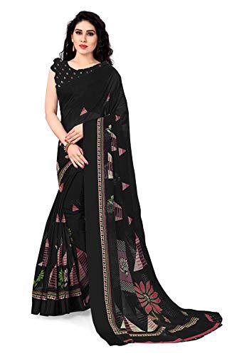 Sourbh Bedruckter Sari für Damen aus Polyester-Baumwolle, mit Blusenteil - Schwarz -...