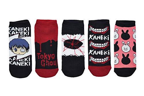 Tokyo Ghoul Socken Cosplay (5 Paar) – (Damen) Tokyo Ghoul Merchandise Low Cut Socken – passend für Schuhgröße: 37-45 (Damen)