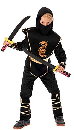 Magicoo Goldener Drachen Ninja Kostüm für Kinder Jungen Gr 110 bis 140 Schwarz/Gold - Fasching Kinder Ninja Kostüm für Kind (122/128)