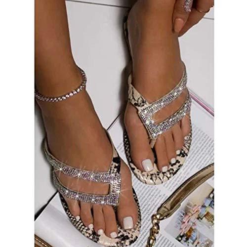 Fnsky 1 Paar Vrouwen Platte Slippers Sandalen, Luipaard-Print Strass Delicate Slippers, Open teen Ademende Anti-slip Sandalen voor Summer Beach
