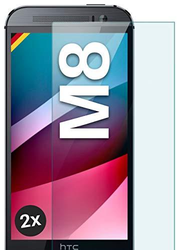 moex Panzerglas kompatibel mit HTC One M8 / M8s - Schutzfolie aus Glas, bruchsichere Bildschirmschutz Folie, Crystal Clear Panzerglasfolie, 2X Stück