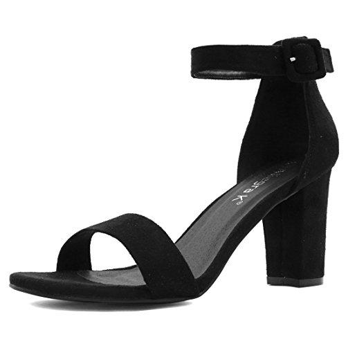Allegra K Donna Sandali Tacco Blocco Cinturino Caviglia Donna Scarpe Casual Nero 40