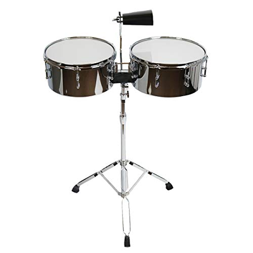 "Sawtooth Command Series 13"" & 14"" Chrome Steel Timbale Set w/Cowbell & Stand (ST-COM-TB1314)"