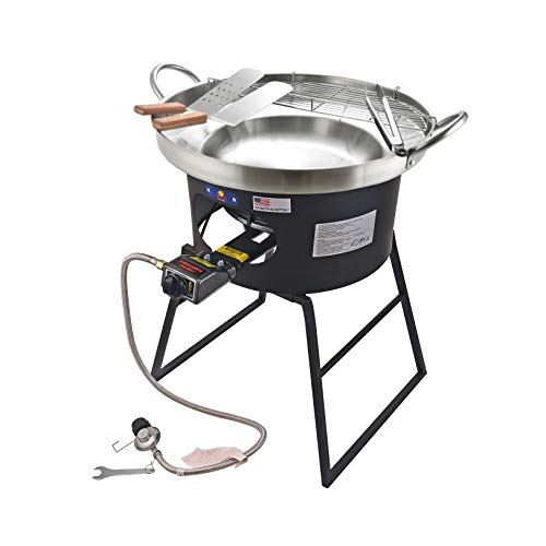 ARC, 23' Heavy Duty Stainless Steel Concave Comal Set with 30,000BTU Propane Burner Stove and Burner Stand, Discada Disc Cooker, Great for Backyard and Outdoor Cooking
