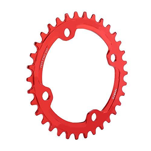 Alomejor Anillo de Cadena de Bicicleta 32/34/36/38T BCD 104mm Piezas de reparaci¨®n de Anillo de Cadena de manivela ¨²nica de Acero para Bicicleta de Monta?a(34T-Rojo)