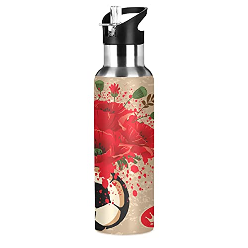 Arte Flor Fútbol Botella de Agua Deportiva con Pajita Acero Inoxidable, 600ML Botellas Termica Sin BPA para Niños Deporte Gimnasio Ciclismo Escuela