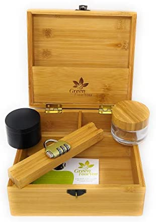 GREENFOURYOU BAMBOO WOODEN STASH BOX COMBO STORAGE ACCESSORIES GRINDER FOR HERB BOX GLASS JAR product image