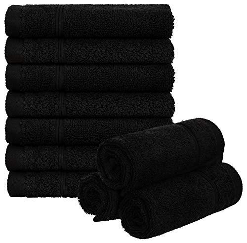 Brandsseller Lot de 10 serviettes d'invité en éponge 100 % coton Noir 50 x 30 cm