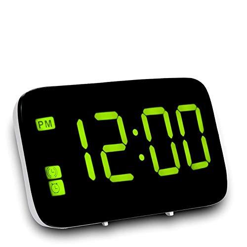 LED de alarma del reloj de control de tiempo de voz LED Digital Display eléctrico Repetir la noche Reloj de mesa de luz de fondo de escritorio for la decoración casera, Verde SKYJIE ( Color : Green )