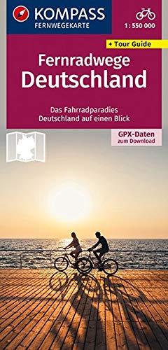 KOMPASS Fernwegekarte Fernradwege Deutschland: Das Fahrradparadies Deutschland auf einen Blick. GPX-Daten zum Download. (KOMPASS-Großraum-Radtourenkarte, Band 2560)