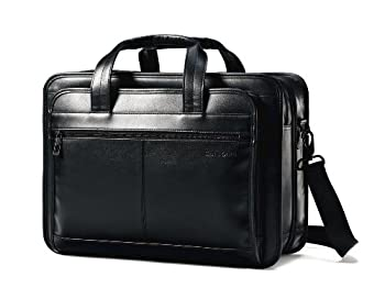Samsonite Leather Expandable Briefcase Black One Size