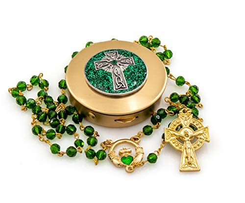 Gold Irish Rosary Gift Set Includes Gold Irish Green Beads Rosary with Celtic Cross and Claddagh Jeweled Centerpiece and Matching Rosary Case PYX with Raised Sparkling Celtic Cross Emblem
