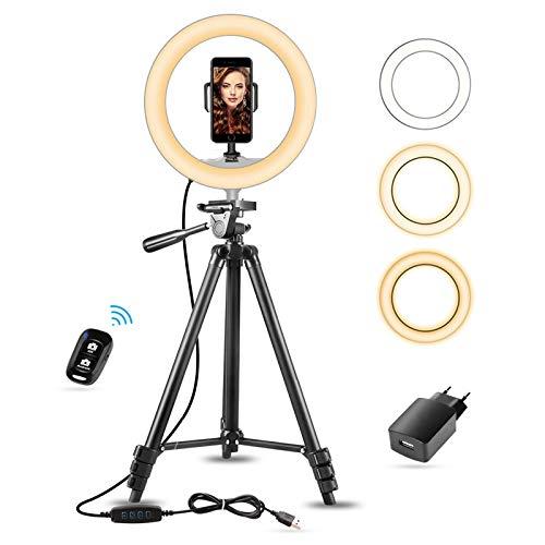 10 Aro de Luz con Tripode Extensible 50 y Soporte Teléfono Flexible para Maquillaje/Instagram, SUNUP Anillo de Luz LED para Móvil Selfie TikTok Youtube, Compatible con iPhone/Android (USB Cargador)